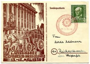 Sonderpostkarte mit den Sonderstempel der 1. Ansbacher Briefmarkenausstellung vom 13. – 15. Mai 1950.